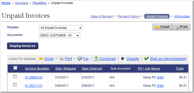 The Unpaid Invoices page